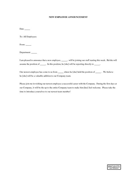 employee termination announcement template best photos of new announcement letter sles