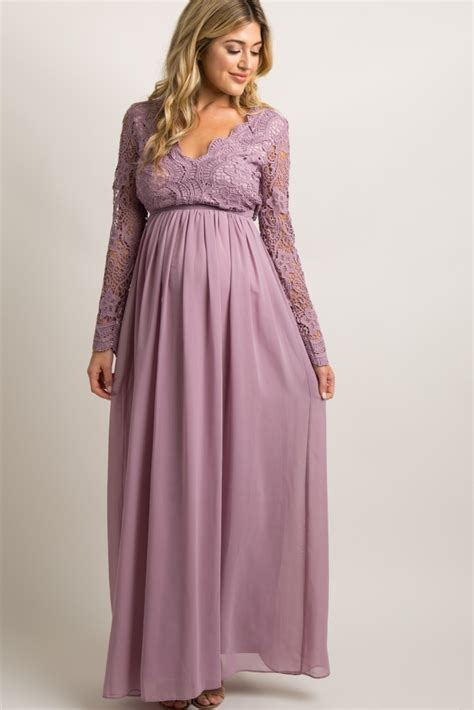 Crochet Evening Gown mauve scalloped crochet chiffon maternity evening gown