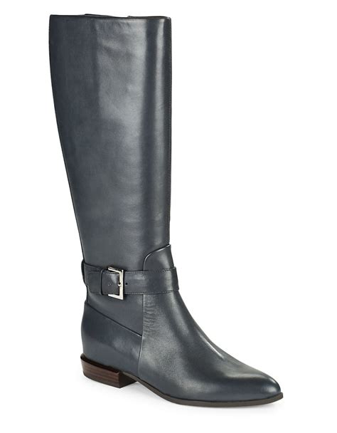 nine west leather boots nine west diablo leather knee high boots in blue lyst