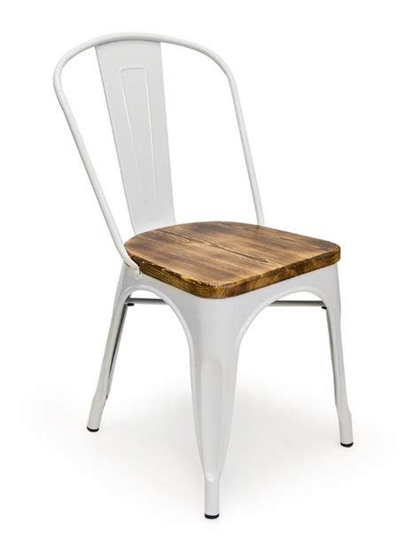 metal bistro wood seat chair white cottage home 174