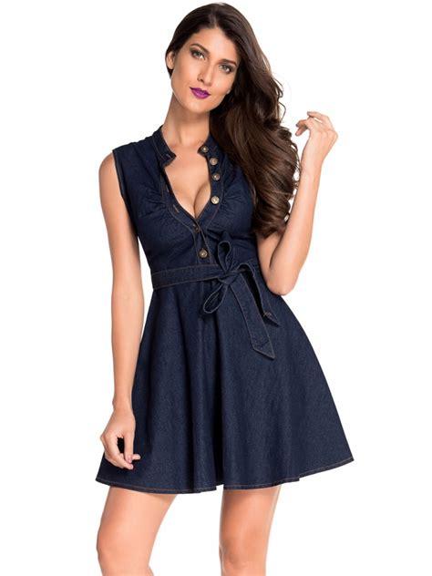 Denim Black Belted Dress denim belted skater dress e22161 2 cilory