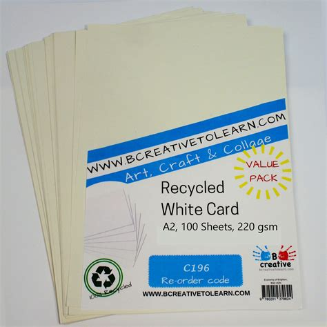 Craft Paper Card Stock - recycled a2 white craft card 220gsm white card stock