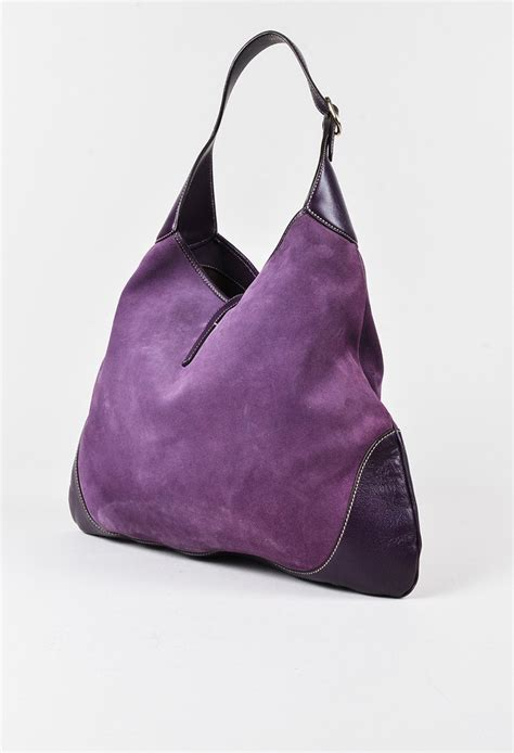 Gucci Purple Suede Bouvier Hobo gucci purple suede studded large quot bouvier jackie quot hobo bag