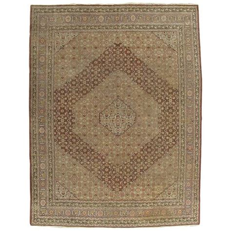 Masculine Area Rugs Antique Tabriz Carpet Handmade Rug In Masculine Gold Brown And Taupe For Sale At 1stdibs