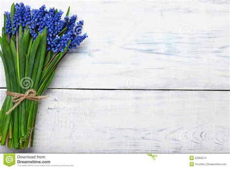 flower on table spring flowers bouquet on wooden table top view copy space stock photo image 53360514