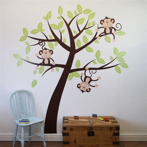 childrens wall stickers tree childrens cheeky monkey tree wall stickers by parkins