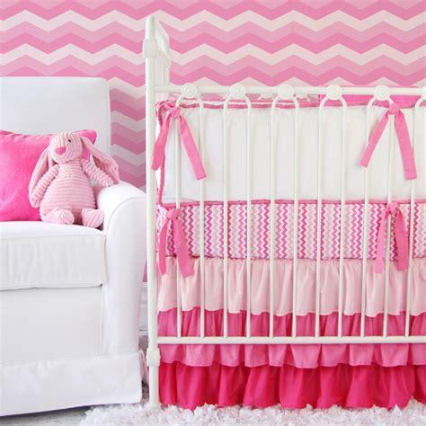 Girly Baby Cribs girly zig zag ruffle crib bedding set by caden