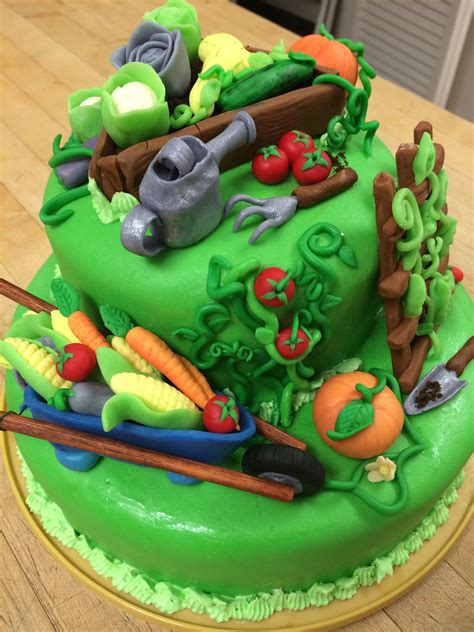 another view of the vegetable garden cake my fondant