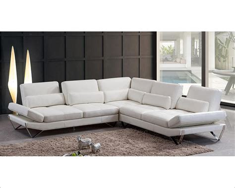 Modern Snow White Leather Sectional Sofa 44l5985 White Modern Sectional Sofa