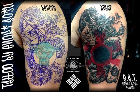 tattoo cover up dragon dragon sun tattoo coverup by enoki soju by enokisoju on