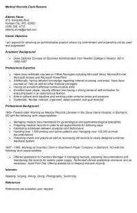 records clerk resume sle template design