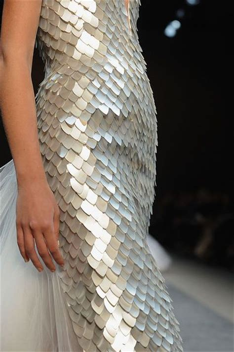 Yoan Texture Dress B L F dress with fish scale textures in a pearl finish