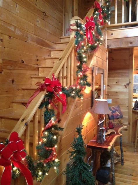 staircase christmas garland   cabin  blairsville ga cabin christmas decor christmas