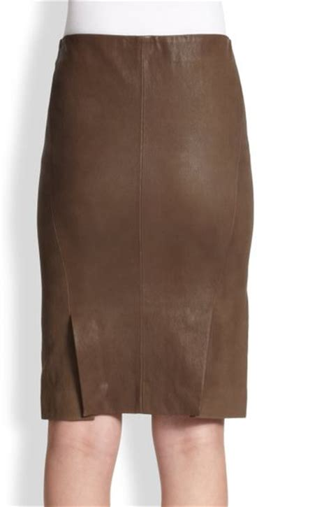 theory golda leather pencil skirt in brown light mud lyst