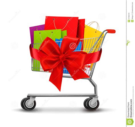 gift for shopping shopping cart of shopping bags and a gift bow royalty