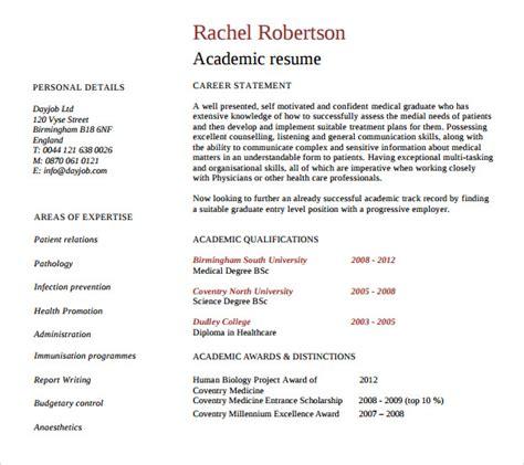 academic resume templates sle academic resume 8 free documents in