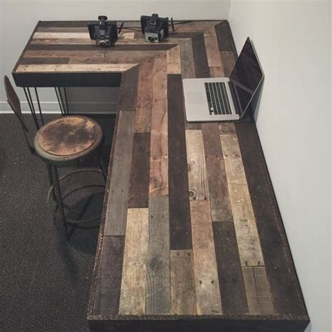 rustic l shaped computer rustic l shaped desk made from reclaimed wood by