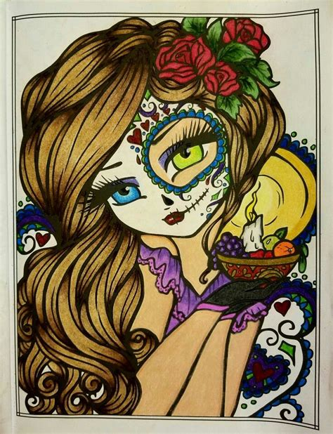 enchanted halloween a whimsy quot dia de los muertos quot from enchanted halloween by hannah lynn finished coloring pages