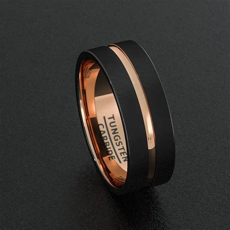 tungsten wedding bands 8mm mens ring black brushed