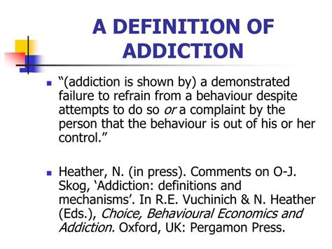 Definition For Detox by Ppt Behavioural Choice Theories Of Addiction Powerpoint