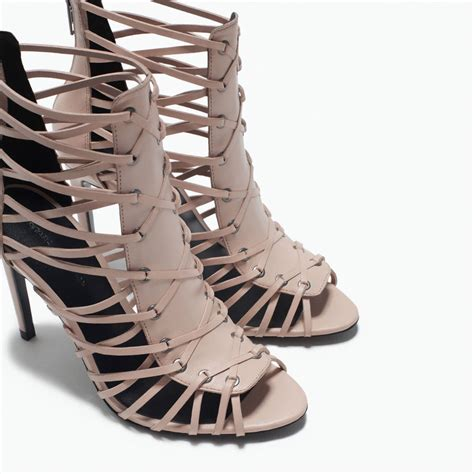 High Heels Zara Saleem zara beige leather high heel sandal with straps stiletto ref 2626 001