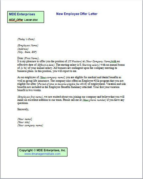 Offer Letter To New Employee Single Tools It Manager Institute