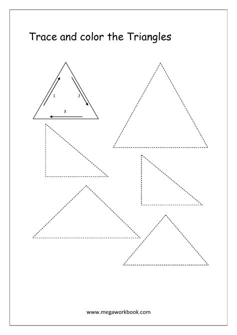 triangle pattern to trace free shapes worksheets trace and color shapes megaworkbook