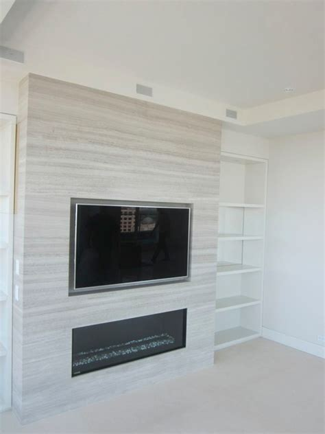 Recessed Fireplaces by Recessed Tv Above Fireplace Modern Living Room
