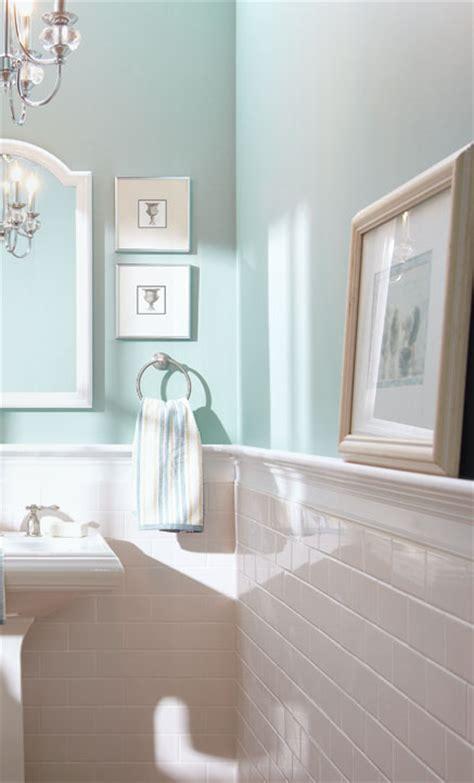 bathroom with half wall subway tile half wall blue inspiration for the bathroom