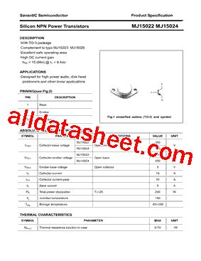 datasheet transistor mj15024 datasheet transistor mj15024 28 images mjd44h11 npn mjd45h11 pnp complementary power wing
