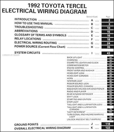 1992 toyota tercel wiring diagram manual original
