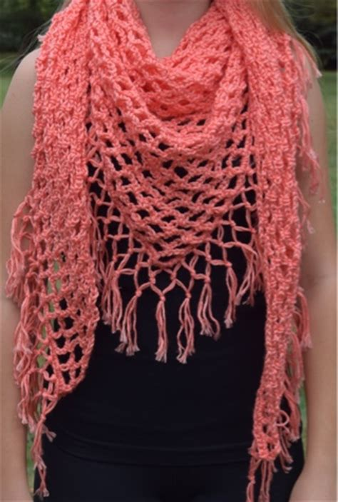 fringed crochet triangle shawl pattern allfreecrochetcom