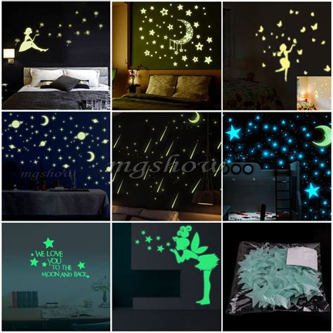 glow in the room decor wall glow in the stickers bedroom nursery room ceiling decor diy ebay