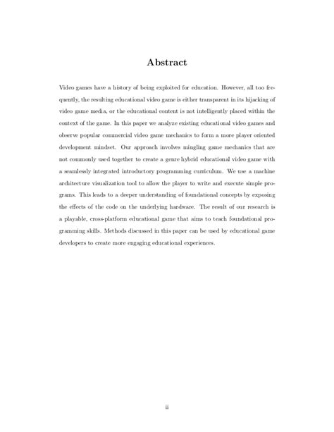 thesis abstract about curriculum development educational game design thesis