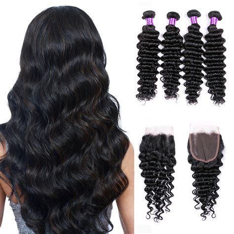 loose deep wavy hair photo mink brazilian deep wave virgin hair bundles with closure