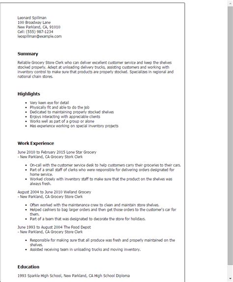 Grocery Store Resume grocery store clerk resume template best design tips