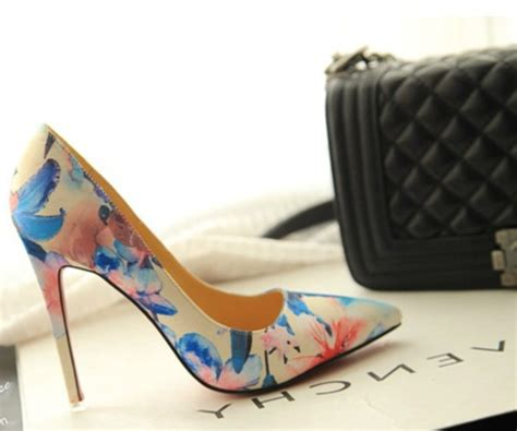 flower pattern heels shoes high heels sexy heels pumps court shoes flower