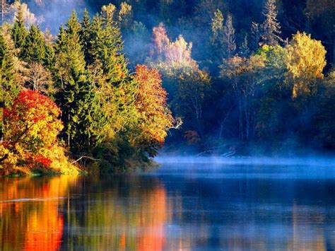 Dusk Autumn Forest Lake Water Nature Landscapes Rivers Lakes Water Reflection Autumn