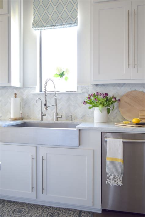 marble herringbone backsplash a kitchen backsplash transformation a design decision