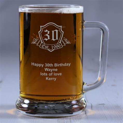 'Birthday Crest' Personalised Glass Tankard   Engrave a gift