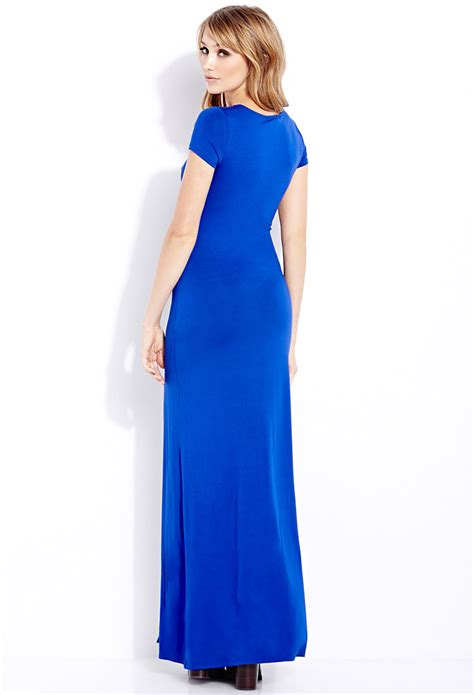 Basic Maxi Spandek forever 21 basic maxi dress in blue royal lyst