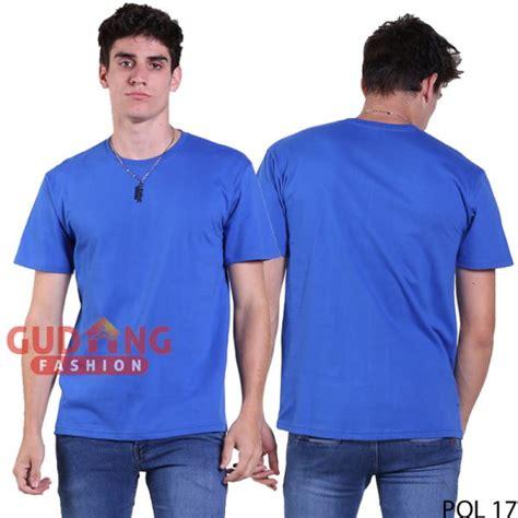 t shirt polos depan belakang cotton combed biru benhur