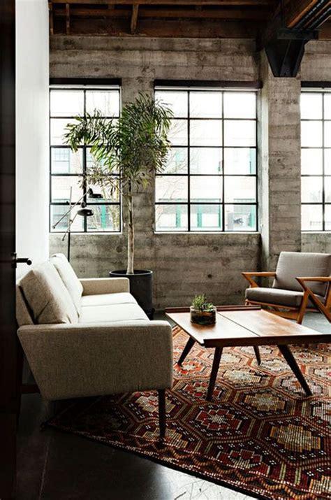 concrete loft exposed concrete concrete walls and mid century furniture