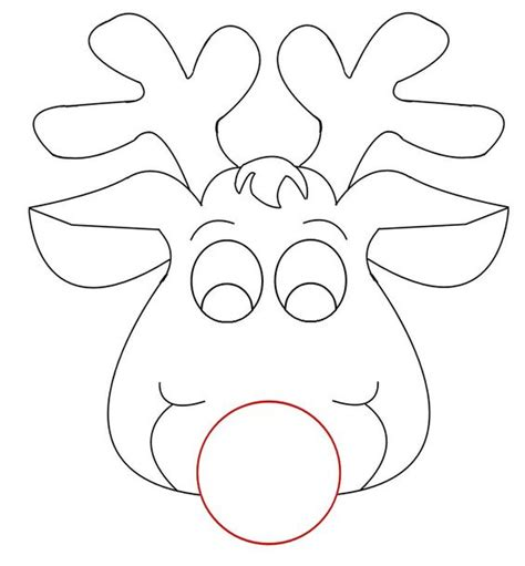 printable reindeer antlers small rudolph reindeer face craft for coloring responses on