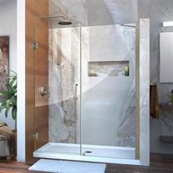 frameless shower doors lowes shop dreamline unidoor 59 in to 60 in frameless hinged