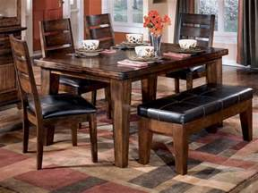 Table With Bench Set For Kitchen Antique Pub Style Dining Sets With Varnish Dining Table And 4 Wooden Dining Chairs With