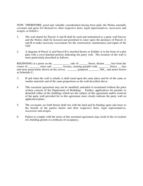 wall agreement template wall easement agreement free