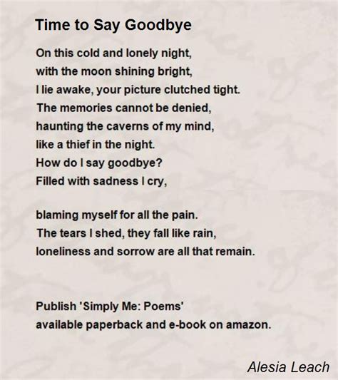 time to say goodbye poem by alesia leach poem