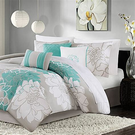 madison park lola 7 piece comforter set in aqua www