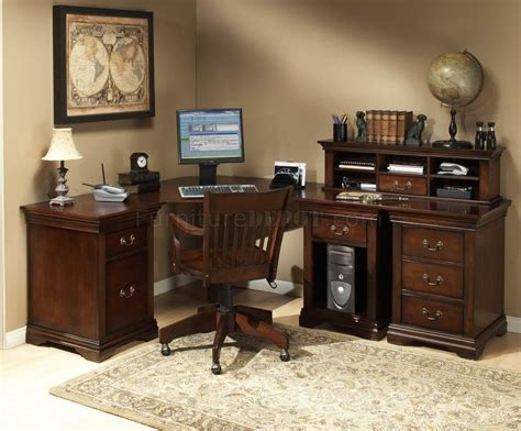Home Office Desk Collections Burnish Cherry Finish L Shape Classic Office Desk W Small Hutch